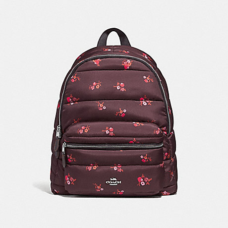 COACH CHARLIE BACKPACK WITH BABY BOUQUET PRINT - OXBLOOD MULTI /SILVER - F30667