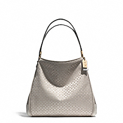 COACH MADISON OP ART PEARLESCENT SMALL PHOEBE SHOULDER BAG - LIGHT GOLD/NEW KHAKI - F30682