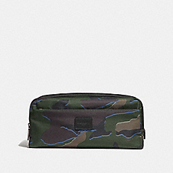 COACH DOUBLE ZIP DOPP KIT WITH CAMO PRINT - GREEN MULTI/BLACK ANTIQUE NICKEL - F30754