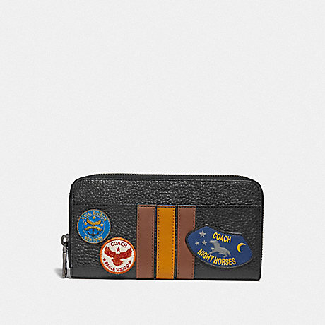 COACH ACCORDION WALLET WITH VARSITY STRIPE AND MILITARY PATCHES - BLACK MULTI/BLACK ANTIQUE NICKEL - F30756