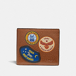 DOUBLE BILLFOLD WALLET WITH MILITARY PATCHES - SADDLE/BLACK ANTIQUE NICKEL - COACH F30775