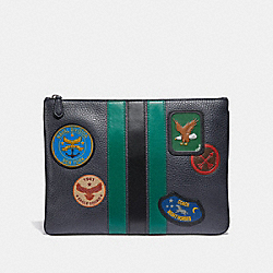 LARGE POUCH WITH VARSITY STRIPE AND MILITARY PATCHES - MIDNIGHT NAVY/BLACK ANTIQUE NICKEL - COACH F30778