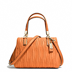 COACH MADISON GATHERED LEATHER MINI SATCHEL - LIGHT GOLD/BRIGHT MANDARIN - F30782