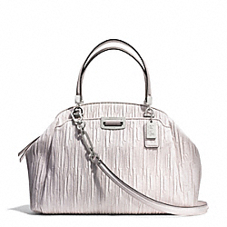 MADISON GATHERED LEATHER DOMED SATCHEL - f30783 - SILVER/PARCHMENT