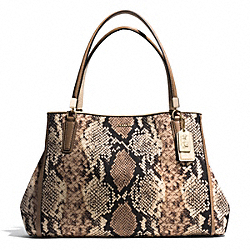 COACH MADISON CAFE CARRYALL IN PYTHON PRINT FABRIC - LIGHT GOLD/NATURAL - F30801