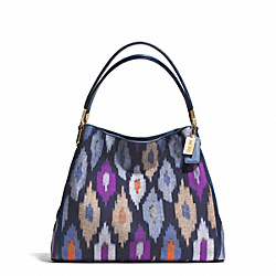 MADISON IKAT PRINT CANVAS PHOEBE SHOULDER BAG - f30803 - LIGHT GOLD/BLUE MULTI