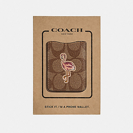 COACH POCKET STICKER IN SIGNATURE CANVAS WITH FLAMINGO - DCB - f30807