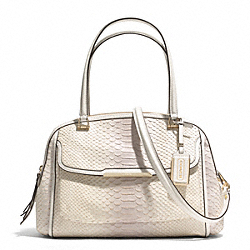 MADISON PYTHON EMBOSSED LEATHER PINNACLE GEORGIE SATCHEL - f30823 - LIGHT GOLD/NEUTRAL PINK