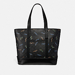 COACH WEST TOTE IN SIGNATURE CANVAS WITH CAR PRINT - ANTIQUE NICKEL/BLACK MULTI - F30829