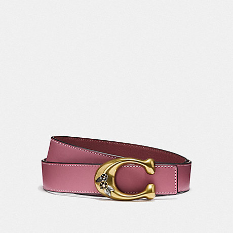 COACH TEA ROSE SIGNATURE BUCKLE REVERSIBLE BELT, 32MM - ROSE/WINE BRASS - F30921
