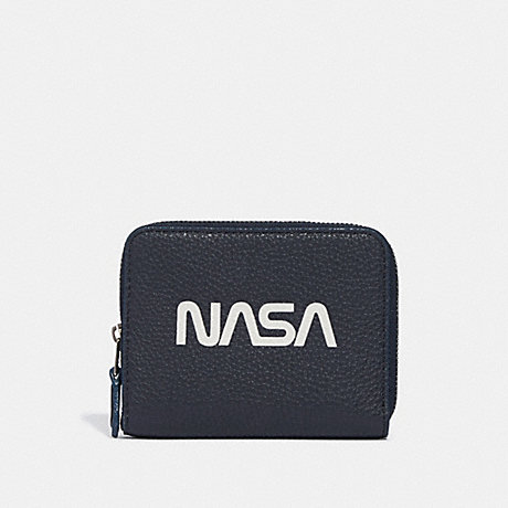 COACH SMALL ZIP AROUND WALLET WITH SPACE MOTIF - MIDNIGHT NAVY/SILVER - f30937