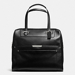 COACH TAYLOR LEATHER BOWLER SATCHEL - SILVER/BLACK - F30965