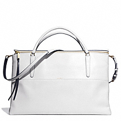 COACH WEEKEND BOROUGH BAG IN EDGEPAINT LEATHER - GOLD/WHITE/NAVY - F30983