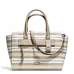 COACH BLEECKER EMBOSSED WOVEN LEATHER RILEY CARRYALL - SILVER/FAWN/WHITE - F31002