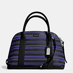 BLEECKER EMBOSSED WOVEN LEATHER PRESTON SATCHEL - f31004 - SILVER/BLUE INDIGO/BLACK