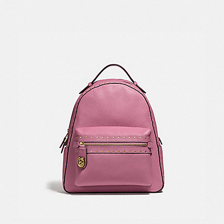 COACH CAMPUS BACKPACK WITH RIVETS - ROSE/BRASS - F31016