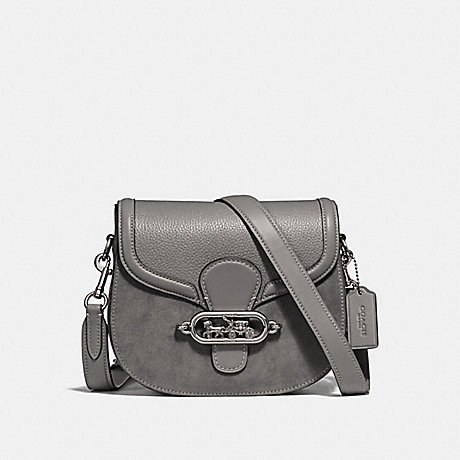 COACH ELLE SADDLE BAG - HEATHER GREY/SILVER - F31113