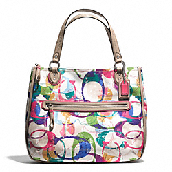 COACH STAMPED SIGNATURE C HALLIE EAST/WEST TOTE - SILVER/MULTICOLOR - F31141