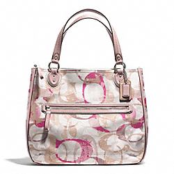 COACH STAMPED SIGNATURE C HALLIE EAST/WEST TOTE - SILVER/NEUTRAL MULTI - F31141