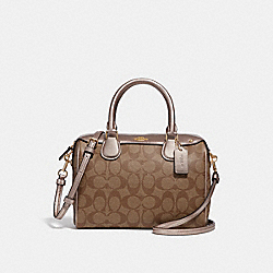 MINI BENNETT SATCHEL IN SIGNATURE CANVAS - KHAKI/PLATINUM/LIGHT GOLD - COACH F31157