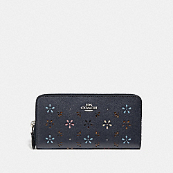 COACH ACCORDION ZIP WALLET - SILVER/MIDNIGHT - F31164