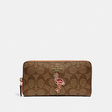 COACH ACCORDION ZIP WALLET IN SIGNATURE CANVAS WITH FLAMINGO MOTIF - khaki/multi/imitation gold - f31166