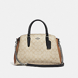 SAGE CARRYALL IN COLORBLOCK SIGNATURE CANVAS - SILVER/LIGHT KHAKI MULTI - COACH F31169