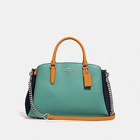 COACH f31170 SAGE CARRYALL IN COLORBLOCK SILVER/BLUE MULTI