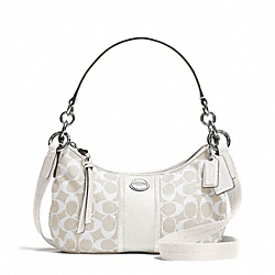 COACH SIGNATURE STRIPE DEMI CROSSBODY - SILVER/LIGHT KHAKI/PARCHMENT - F31181