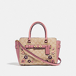 BLAKE CARRYALL 25 IN SIGNATURE CANVAS WITH FLORAL APPLIQUE - LIGHT KHAKI/MULTI/IMITATION GOLD - COACH F31194