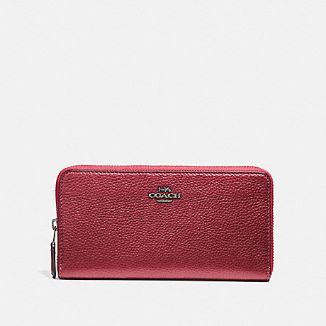 COACH ACCORDION ZIP WALLET - METALLIC HOT PINK/BLACK ANTIQUE NICKEL - f31263