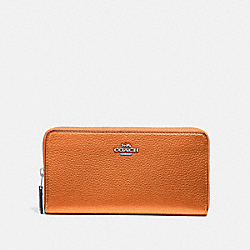COACH ACCORDION ZIP WALLET - METALLIC TANGERINE/SILVER - F31263
