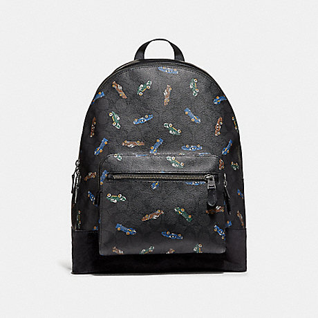 COACH WEST BACKPACK IN SIGNATURE CANVAS WITH CAR PRINT - ANTIQUE NICKEL/BLACK MULTI - f31268