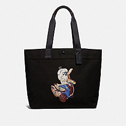 FISHER-PRICE DOODLE DUCK MOTIF TOTE - BLACK MULTI/BLACK ANTIQUE NICKEL - COACH F31272