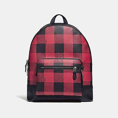 COACH WEST BACKPACK WITH BUFFALO CHECK PRINT - RED MULTI/BLACK ANTIQUE NICKEL - F31291
