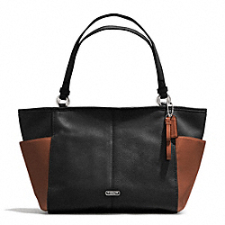 COACH PARK COLORBLOCK CARRIE TOTE - SILVER/BLACK/SADDLE - F31303