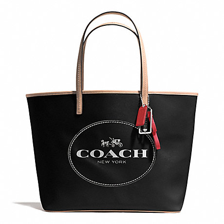 COACH f31315 METRO HORSE AND CARRIAGE TOTE SILVER/BLACK