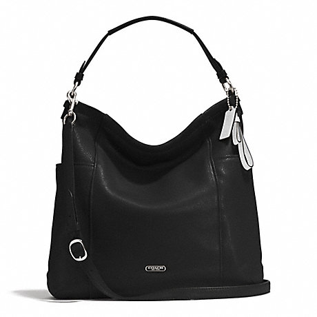 COACH f31323 PARK LEATHER HOBO SILVER/BLACK