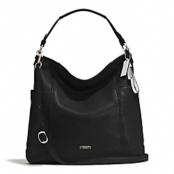 PARK LEATHER HOBO - f31323 - SILVER/BLACK