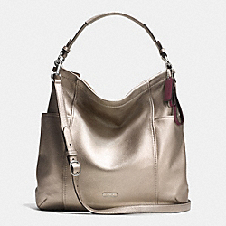 PARK LEATHER HOBO - f31323 - SILVER/PEWTER