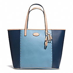 COACH METRO COLORBLOCK STUDDED TOTE - SILVER/OCEAN/CHAMBRAY - F31325