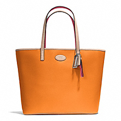 COACH METRO LEATHER TOTE - SILVER/TANGERINE - F31326