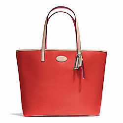 COACH METRO LEATHER TOTE - SILVER/VERMILLION - F31326