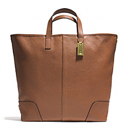 HADLEY LUXE GRAIN LEATHER LARGE DUFFLE - BRASS/SADDLE - COACH F31328