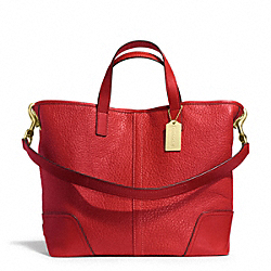 COACH HADLEY LUXE GRAIN LEATHER DUFFLE - BRASS/BRIGHT RED - F31334