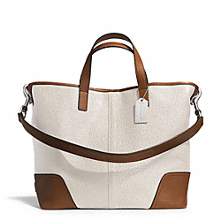 HADLEY LUXE GRAIN LEATHER DUFFLE - SILVER/IVORY - COACH F31334