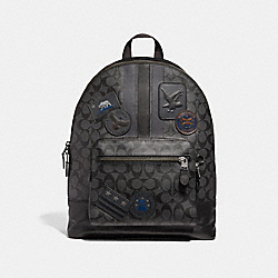WEST BACKPACK IN SIGNATURE CANVAS WITH VARSITY STRIPE AND MILITARY PATCHES - BLACK MULTI/BLACK ANTIQUE NICKEL - COACH F31335