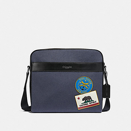 COACH CHARLES CAMERA BAG WITH MILITARY PATCHES - NAVY MULTI/BLACK ANTIQUE NICKEL - F31344