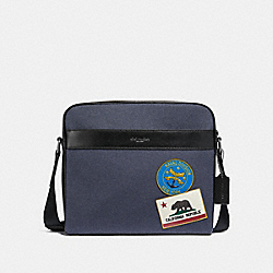 CHARLES CAMERA BAG WITH MILITARY PATCHES - NAVY MULTI/BLACK ANTIQUE NICKEL - COACH F31344