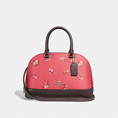 COACH MINI SIERRA SATCHEL WITH BABY BOUQUET PRINT - BRIGHT RED MULTI /SILVER - F31355